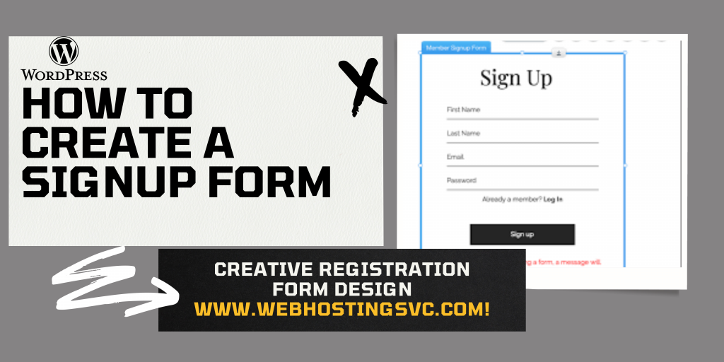how to create a sign up form in single page website